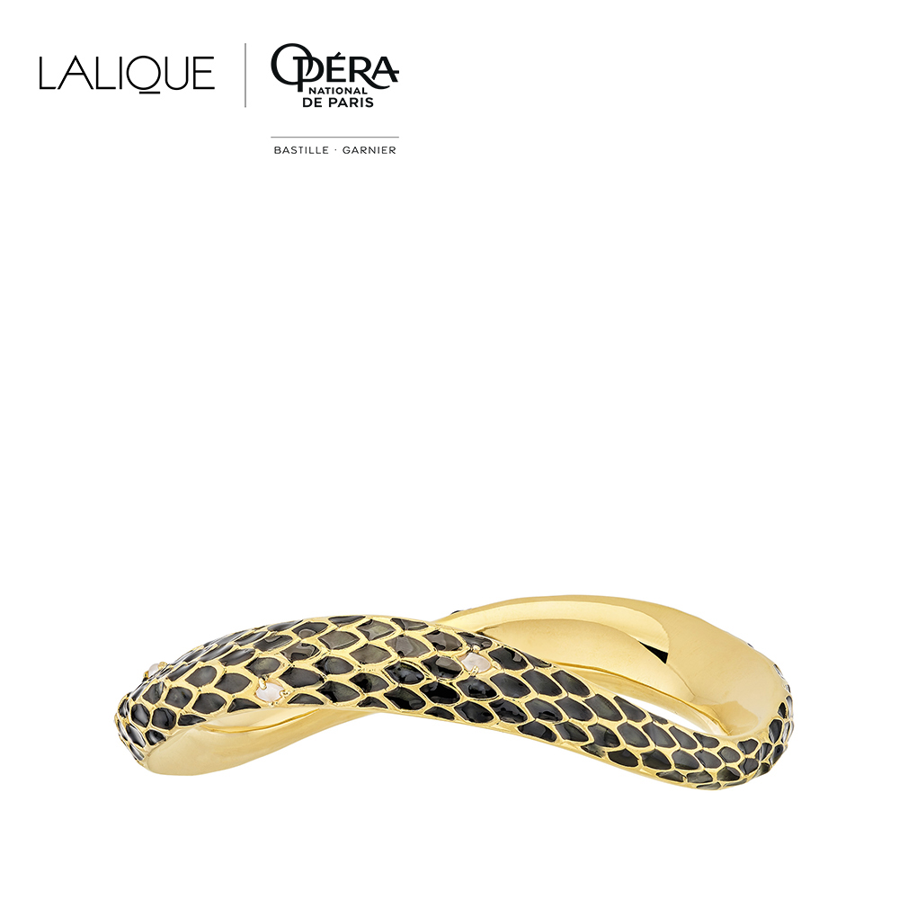 Eurydice bracelet | Clear crystal and black lacquer, 18K yellow gold plated | Costume jewellery Lalique