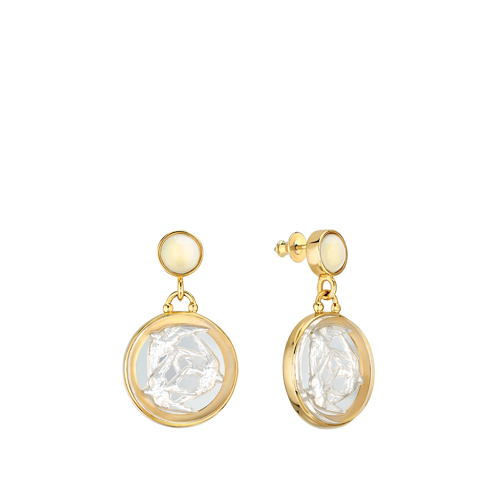 Trois Hirondelles earrings small size | Pearly clear crystal, vermeil | Costume jewellery Lalique