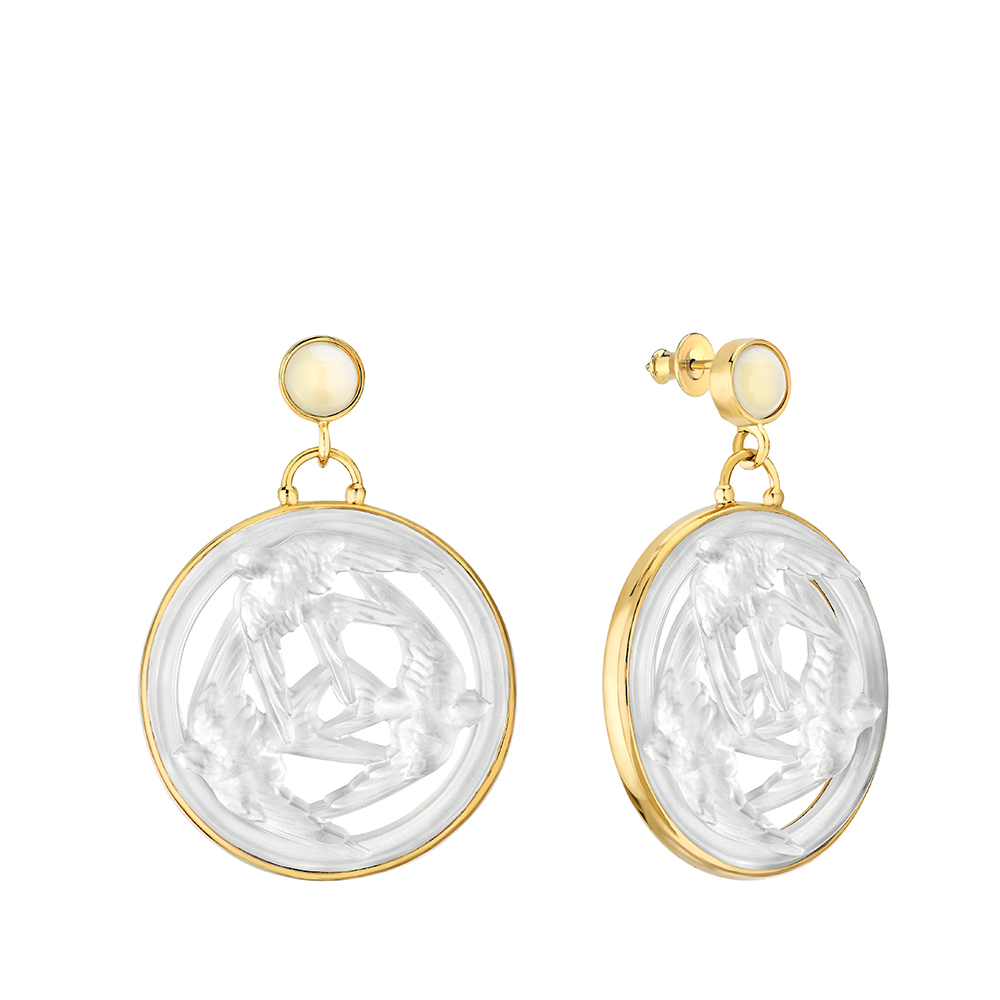 Trois Hirondelles earrings large size | Pearly clear crystal, vermeil | Costume jewellery Lalique