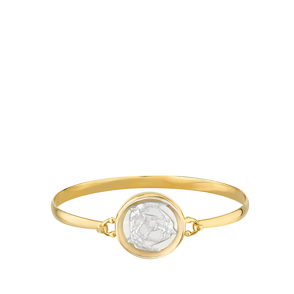 Trois Hirondelles bracelet | Pearly clear crystal, vermeil| Costume jewellery Lalique