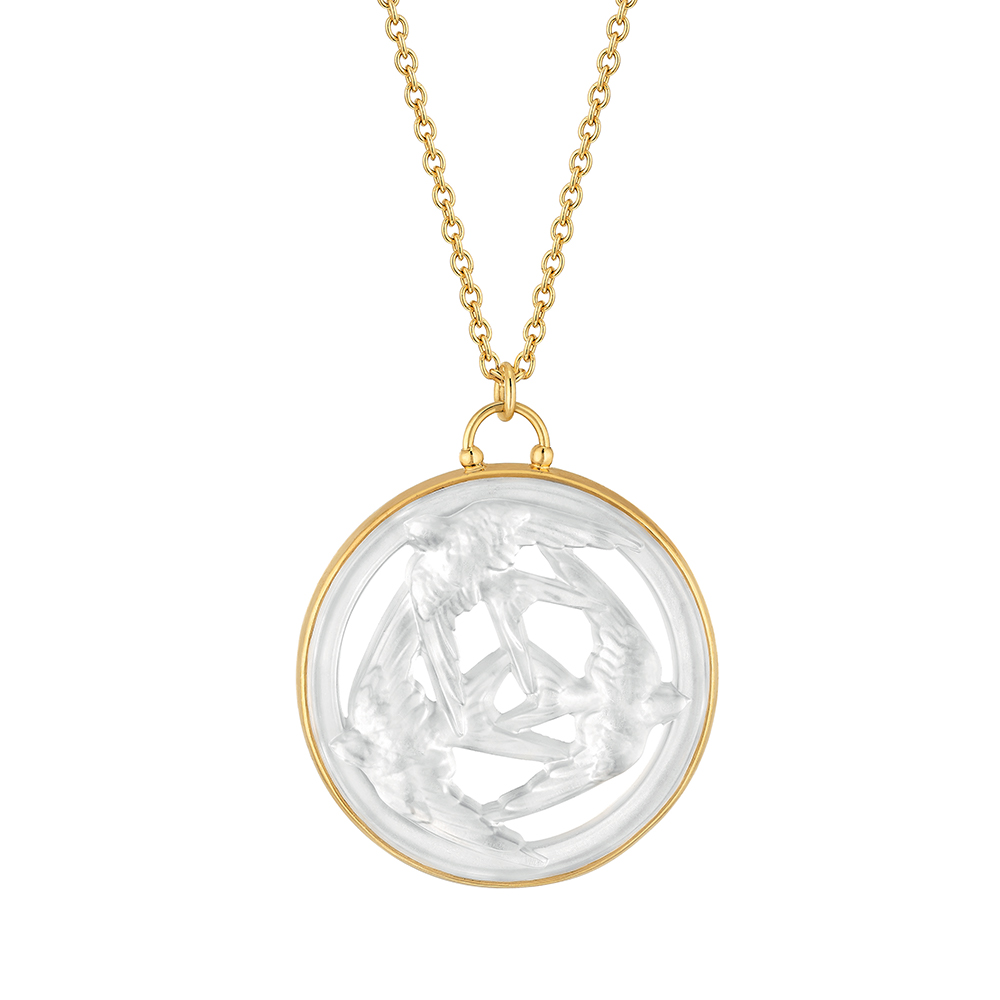 Trois Hirondelles small pendant | Pearly clear crystal, vermeil | Costume jewellery Lalique