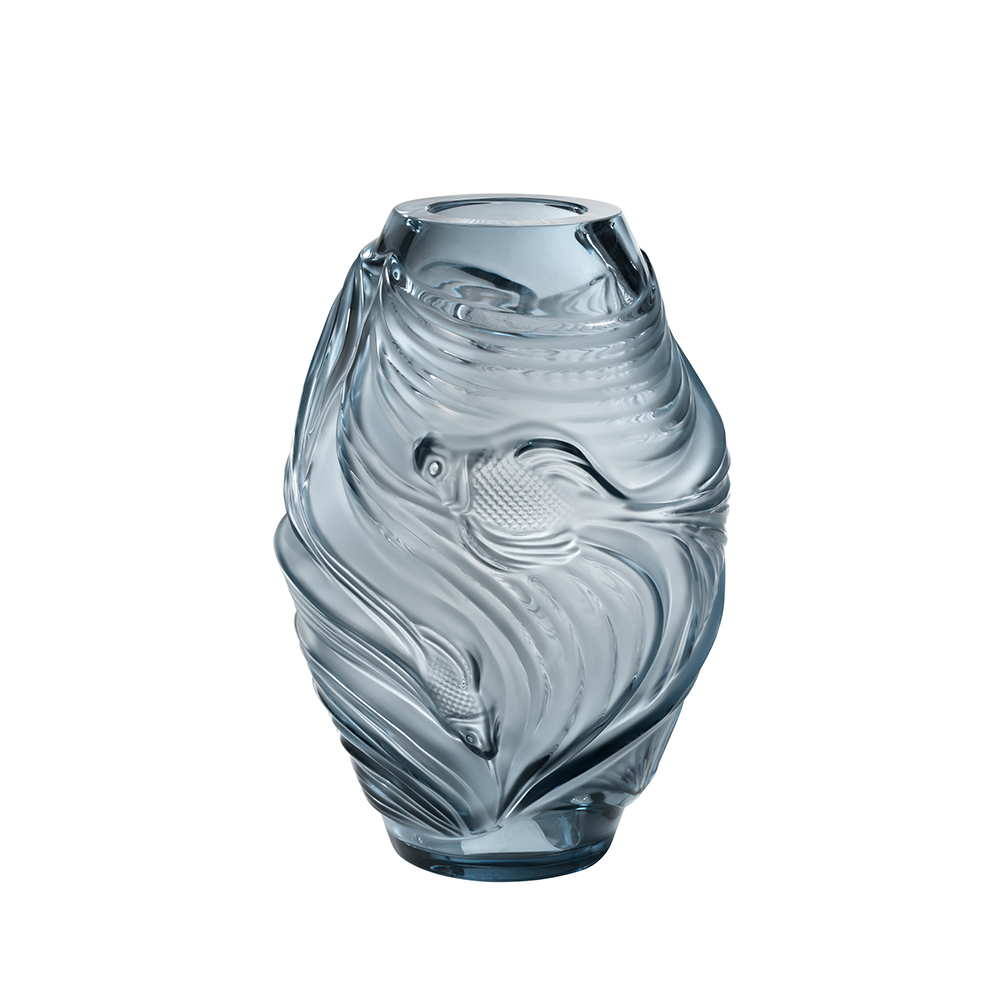 Poissons combattants medium vase | Persepolis blue crystal | Vase Lalique