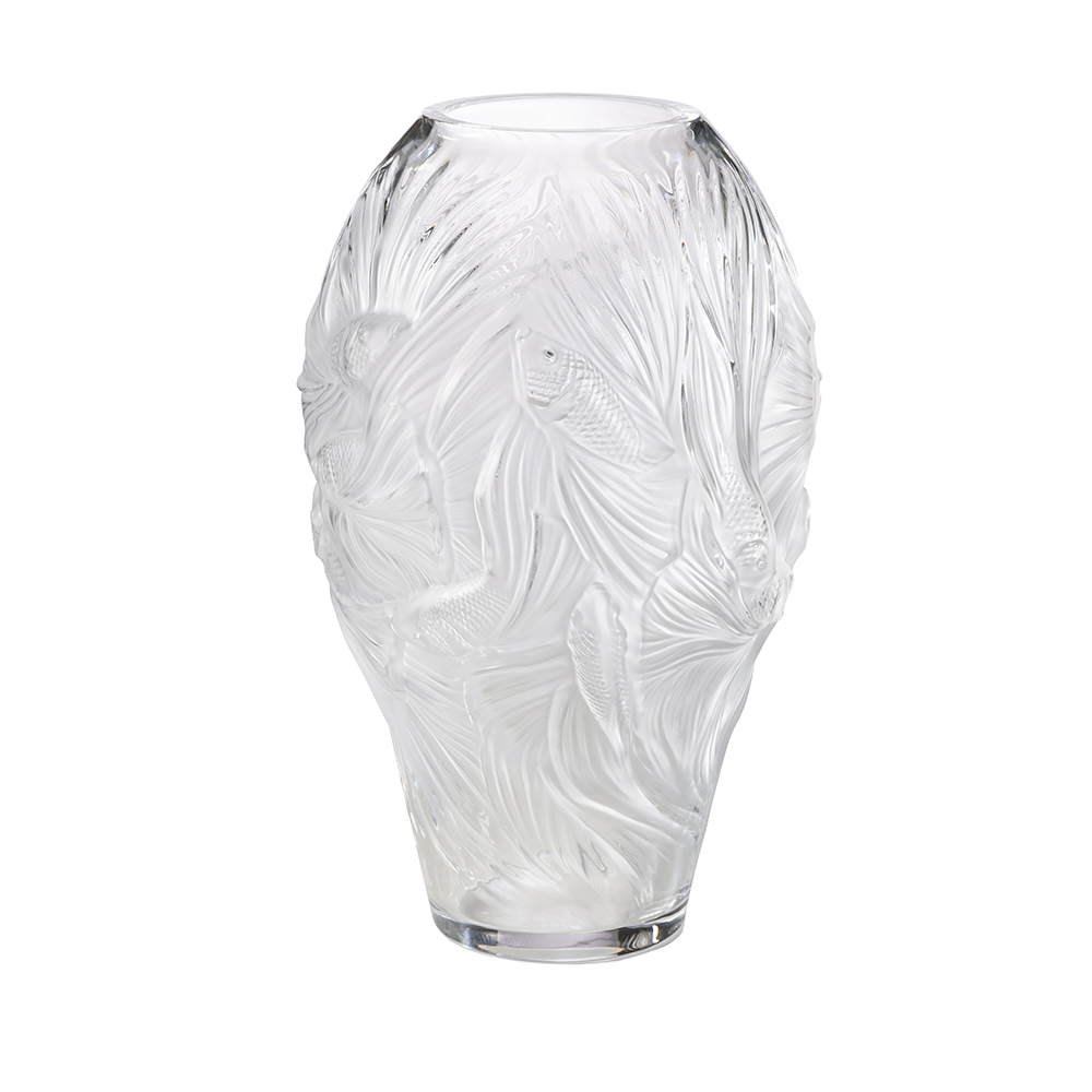 Poissons combattants grand vase | Numbered edition, clear crystal | Vase Lalique