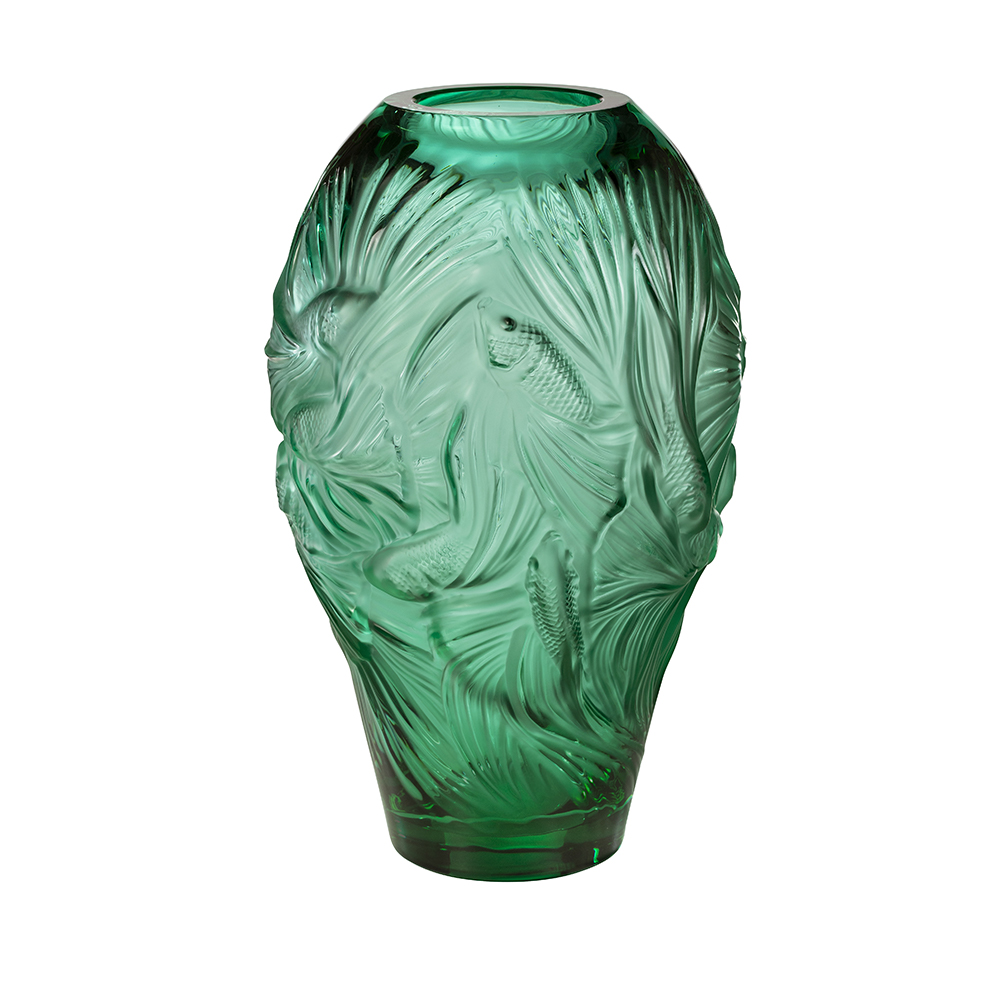 Poissons combattants grand vase | Limited edition (88 pieces), mint green crystal | Vase Lalique