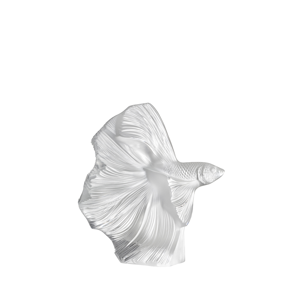 Fighting Fish sculpture |Small size, clear crystal | Sculpture Lalique