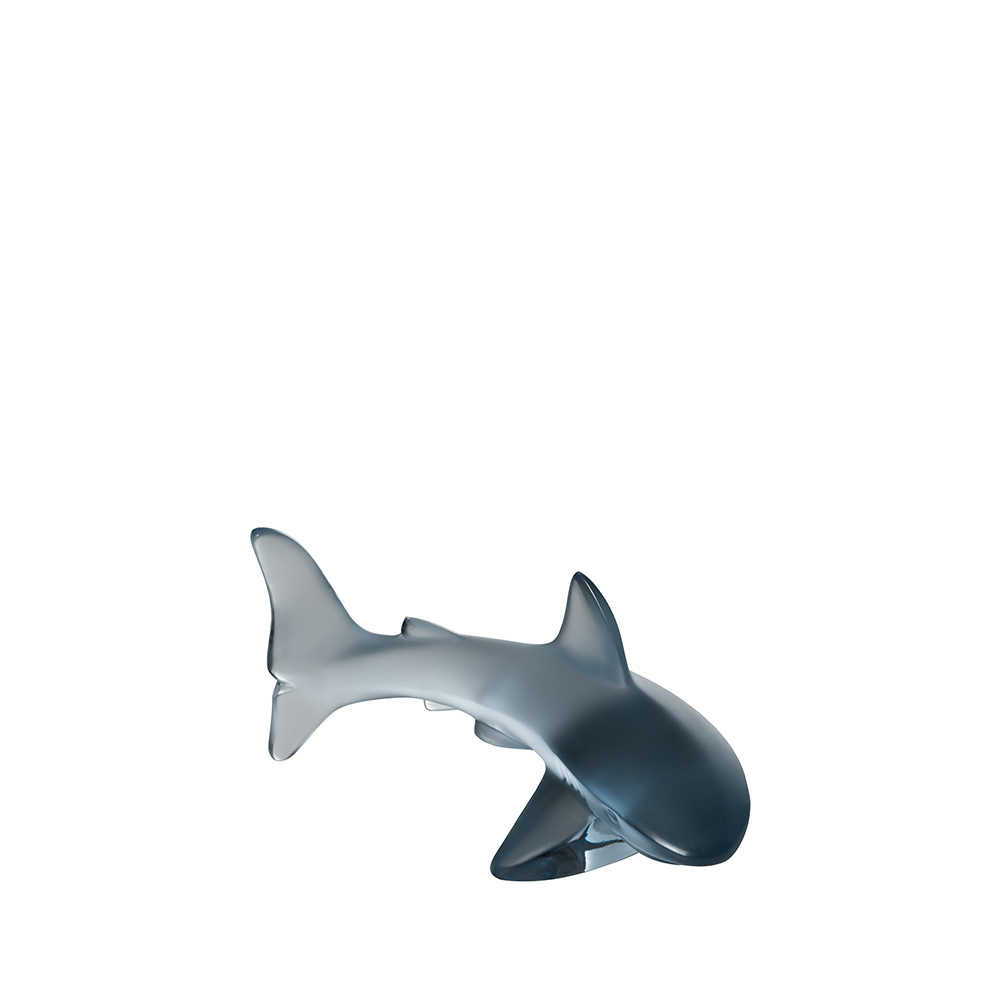 Shark small sculpture | Persepolis blue crystal | Sculpture Lalique