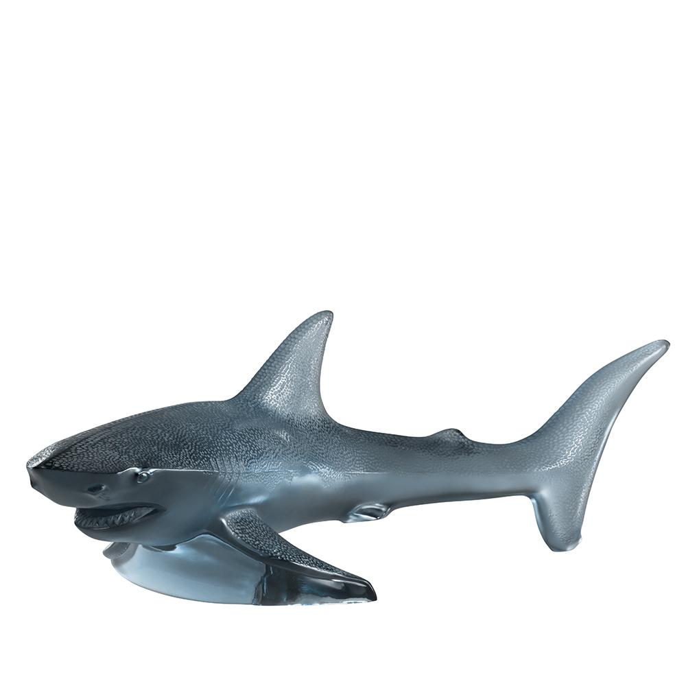 Shark large sculpture | Persepolis blue crystal | Sculpture Lalique
