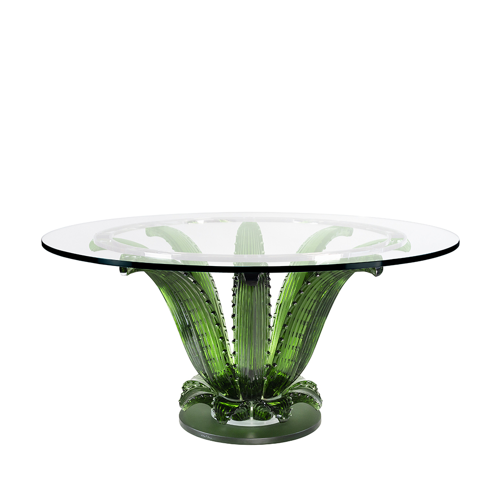 Cactus table | Round table, green crystal | Interior Design Lalique