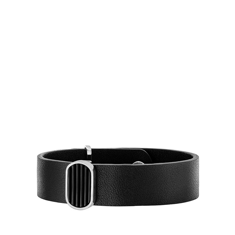 L'Homme Alpha Bracelet | Black crystal, silver, black leather | Costume jewellery Lalique