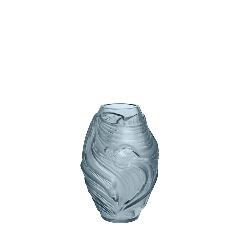 Poissons combattants small vase | Persepolis blue crystal | Vase Lalique