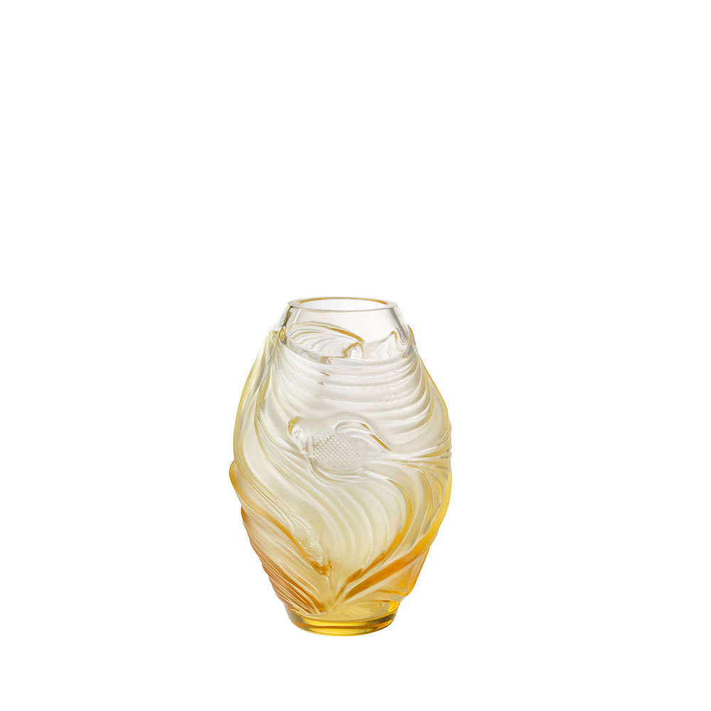Poissons combattants small vase | Amber crystal | Vase Lalique