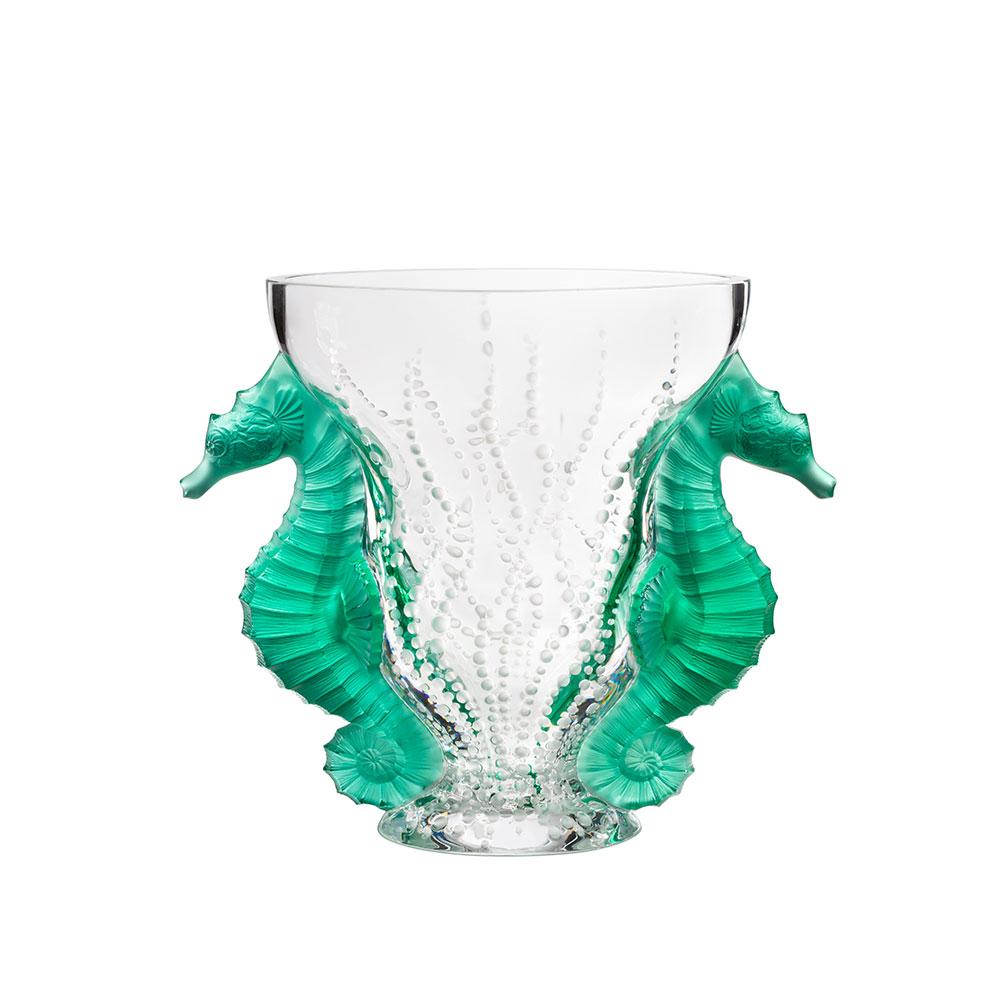 Poséidon vase | Limited edition (99 pieces), mint green crystal | Lalique Vase