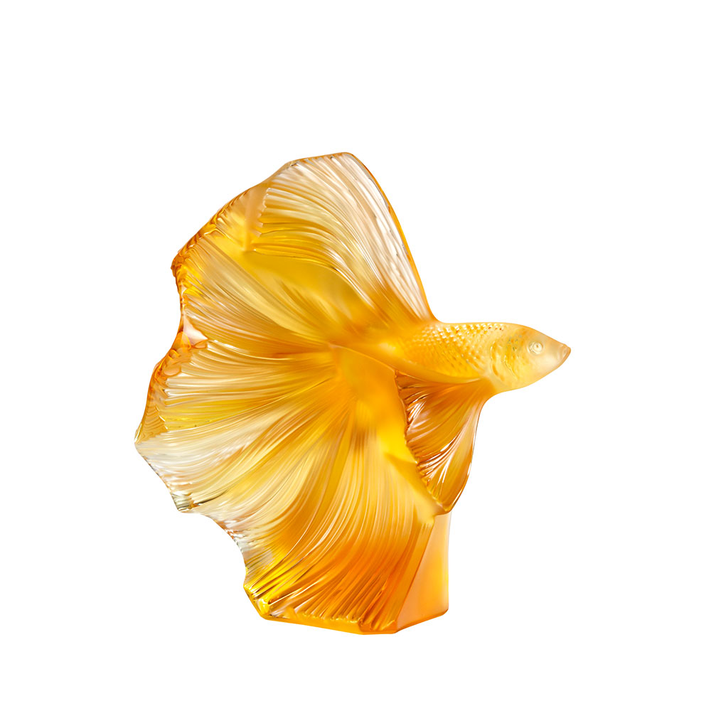 Fighting Fish sculpture | Large size, amber crystal | Sculpture Lalique