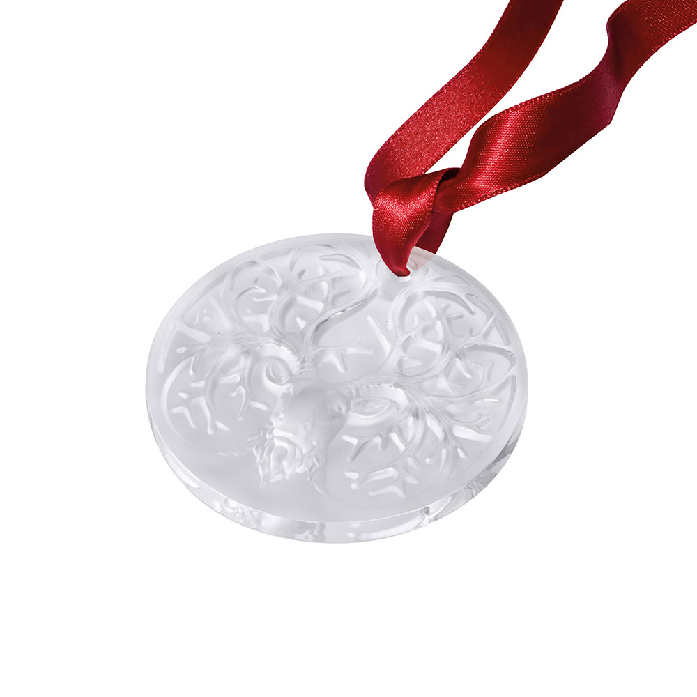Reindeer, Christmas ornament 2019 | Clear crystal | Ornament, medaillon Lalique