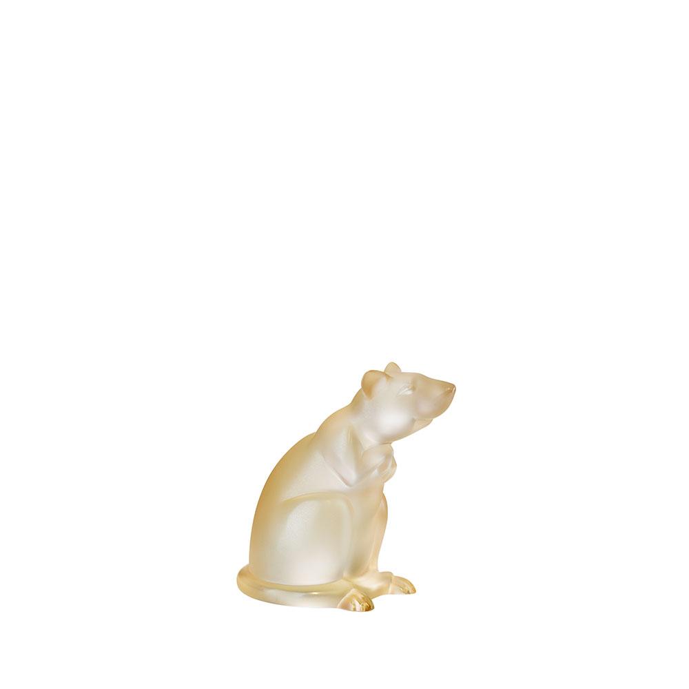Rat sculpture | Gold luster crystal | Sculpture Lalique