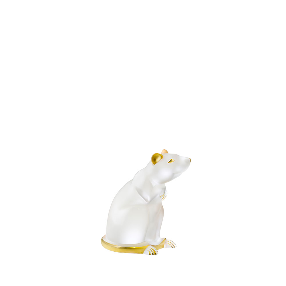 Rat sculpture | Clear and gold stamped crystal | Sculpture Lalique