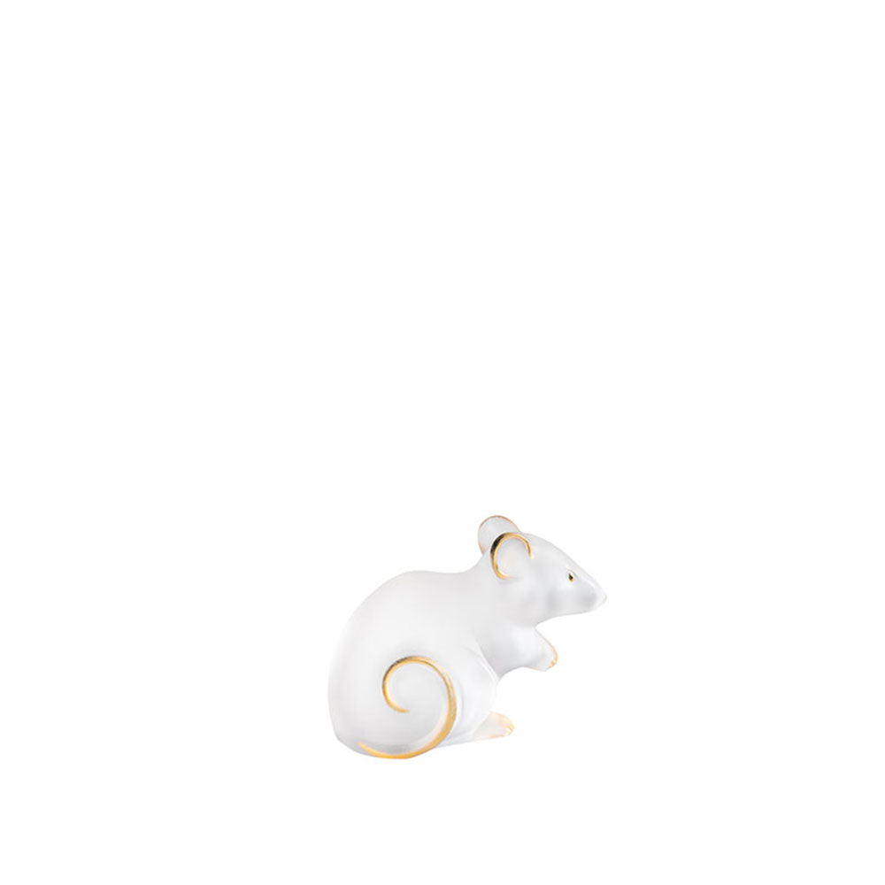 Mouse sculpture | Clear and gold stamped crystal, Large Size | Sculpture Lalique