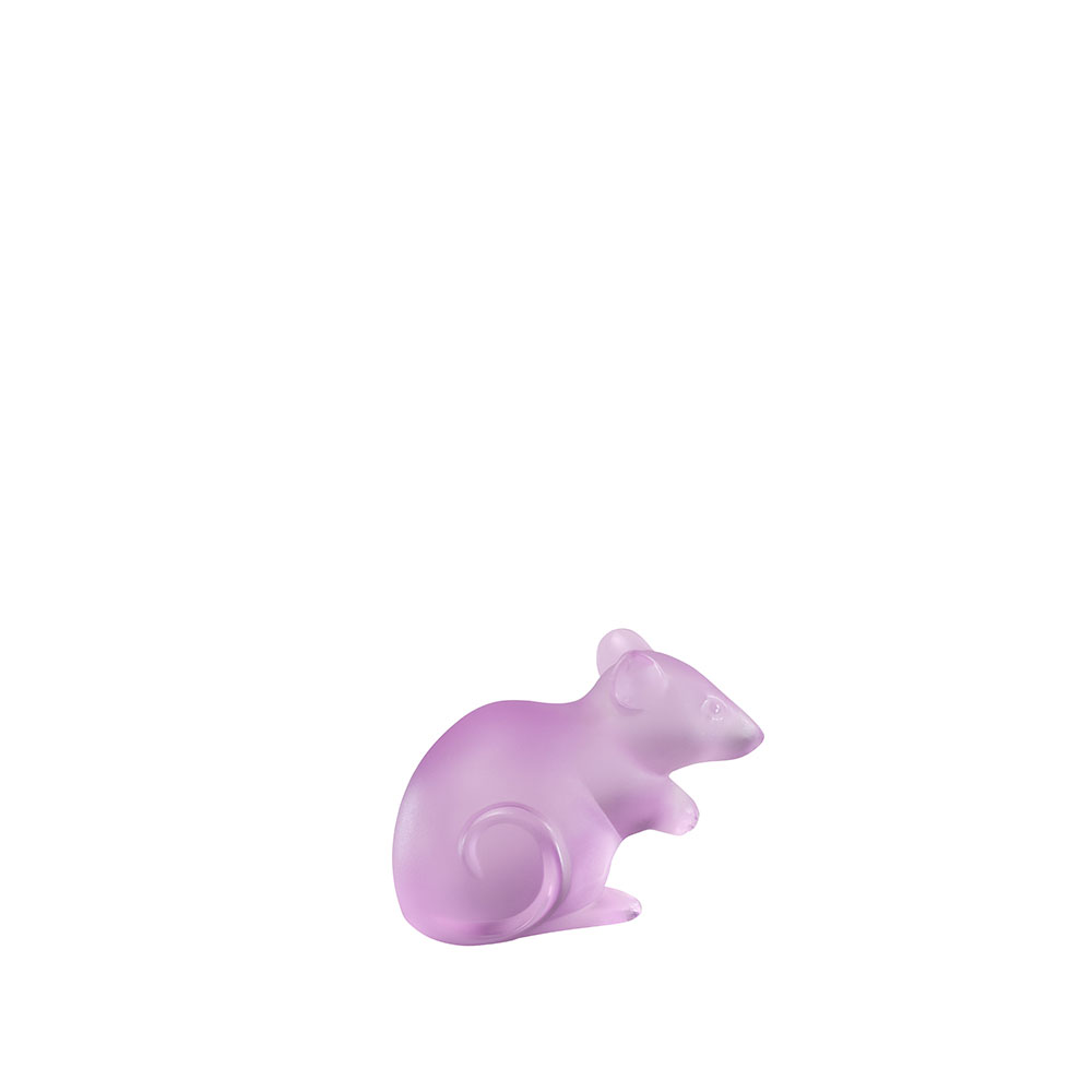 Mouse sculpture | Limited edition (188 pieces), pink crystal, Large Size | Sculpture Lalique