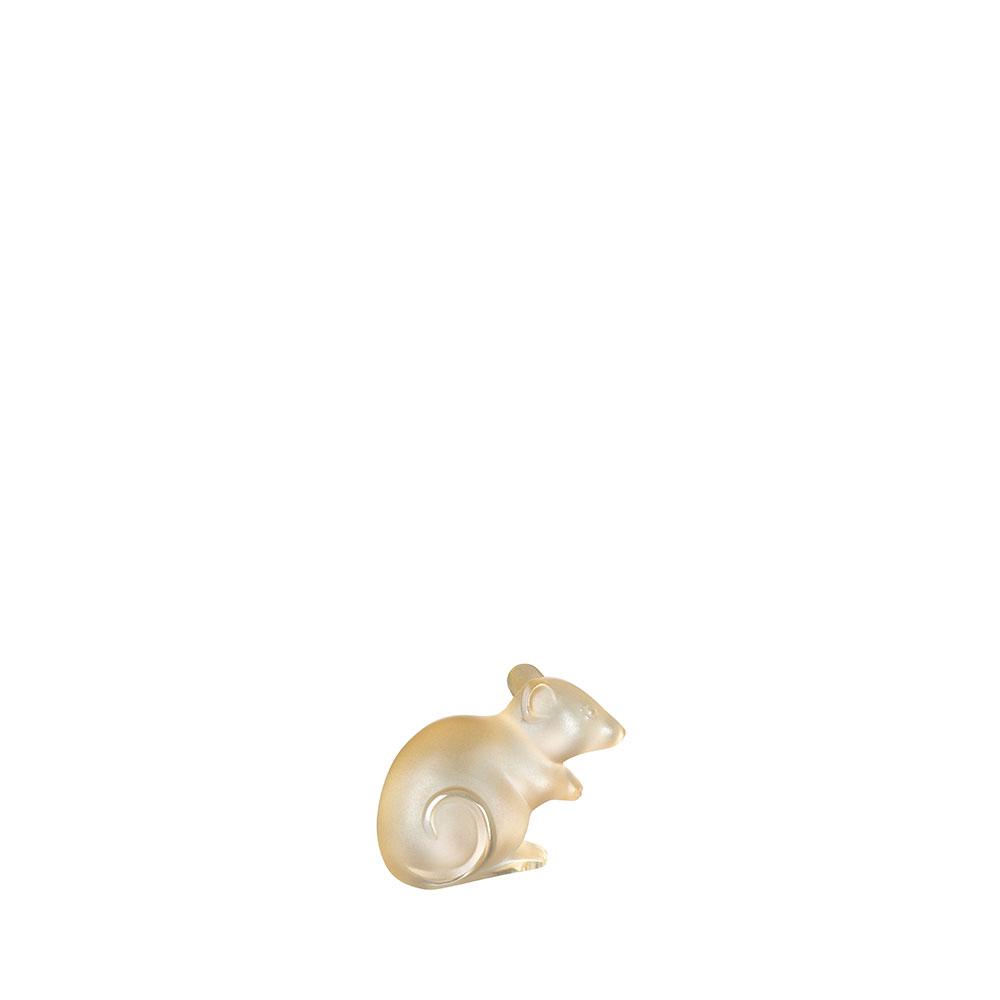 Mouse sculpture | Gold luster crystal | Sculpture Lalique