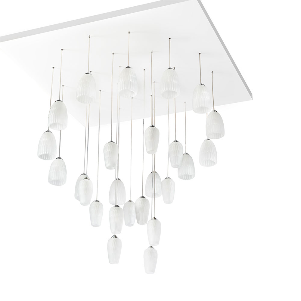 Plumes chandelier | Clear crystal, chrome finish | Lalique