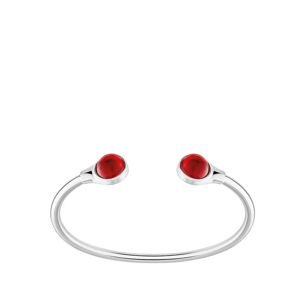 Bracelet jonc flexible Cabochon   Cristal rouge, argent   Bijou fantaisie Lalique
