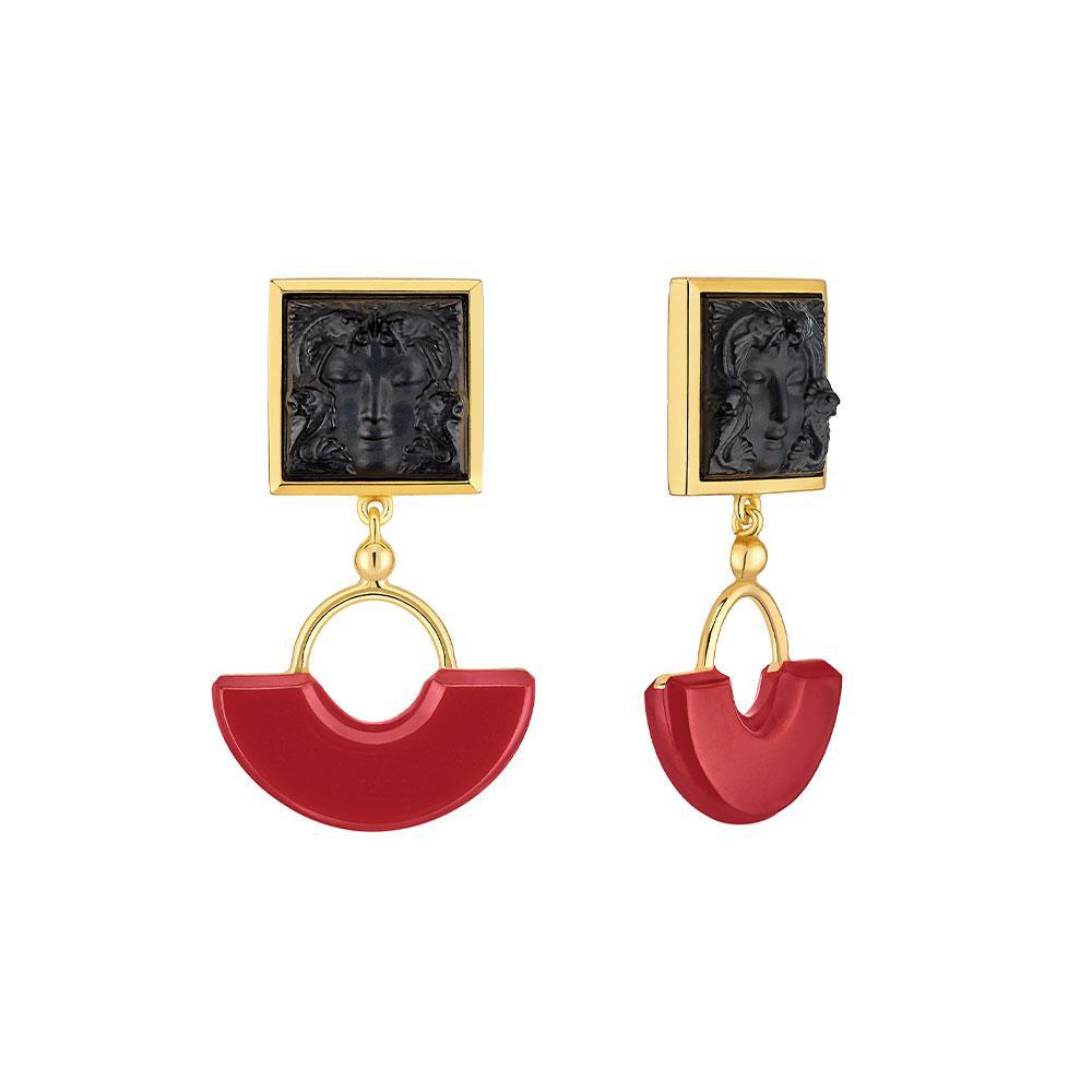 Aréthuse earrings | Black crystal, red resin, vermeil | Costume jewellery Lalique