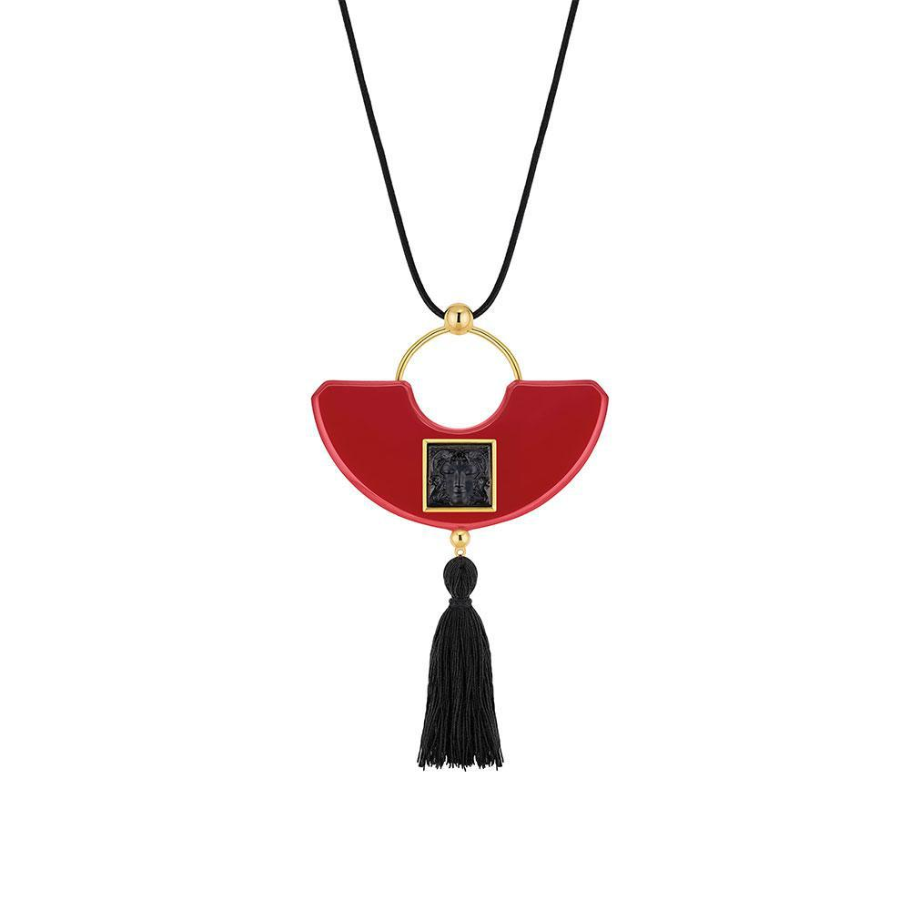 Arethuse pendant | Black crystal, red resin, vermeil | Costume jewellery Lalique