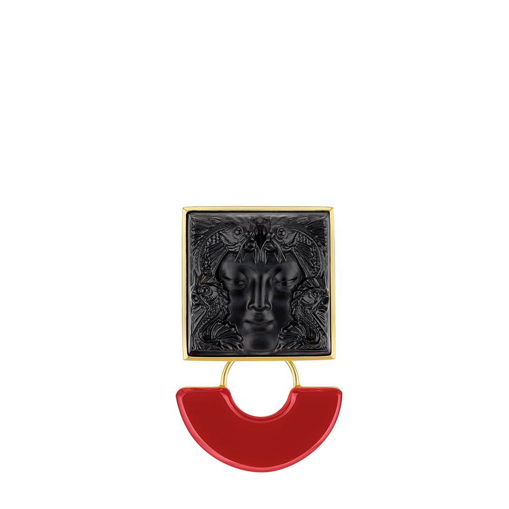 Arethuse brooch | Black crystal, vermeil | Costume jewellery Lalique