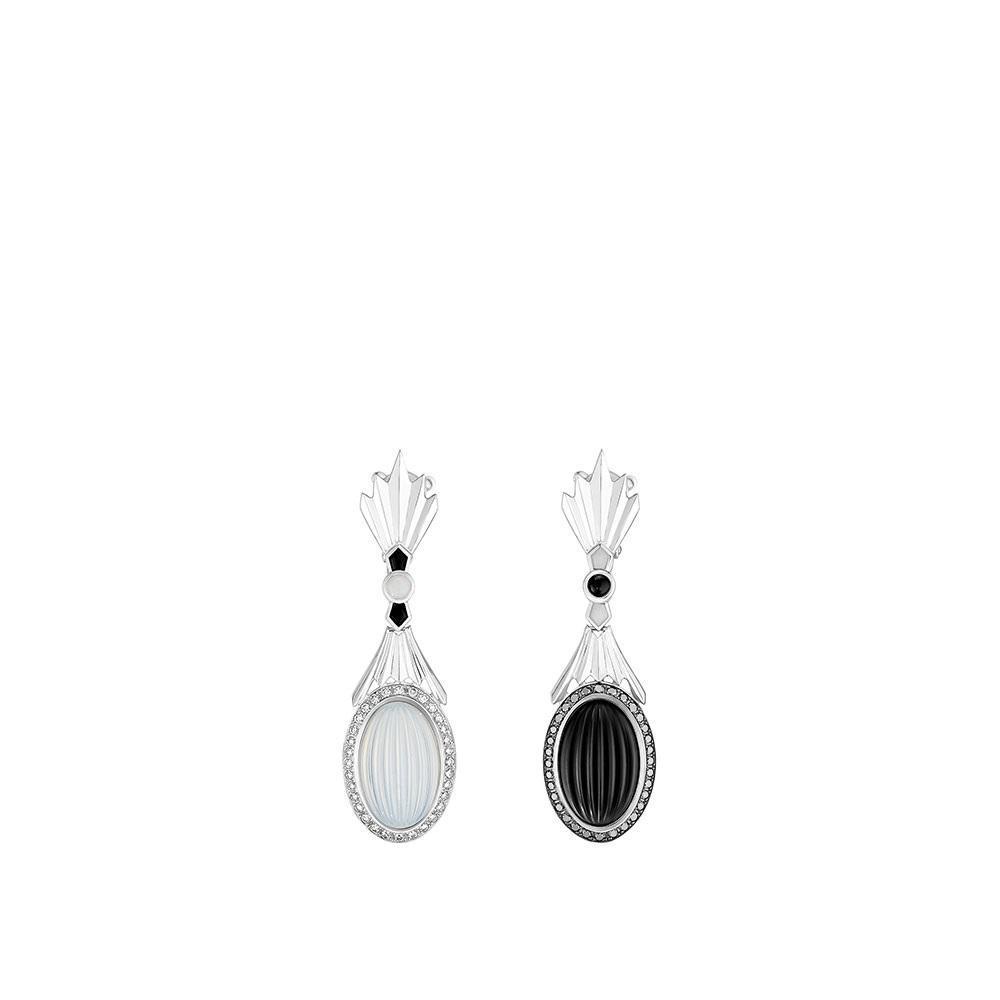 La Flûte Enchantée earrings | White gold, crystal, diamonds, pearls, agate onyx | Lalique fine jewellery