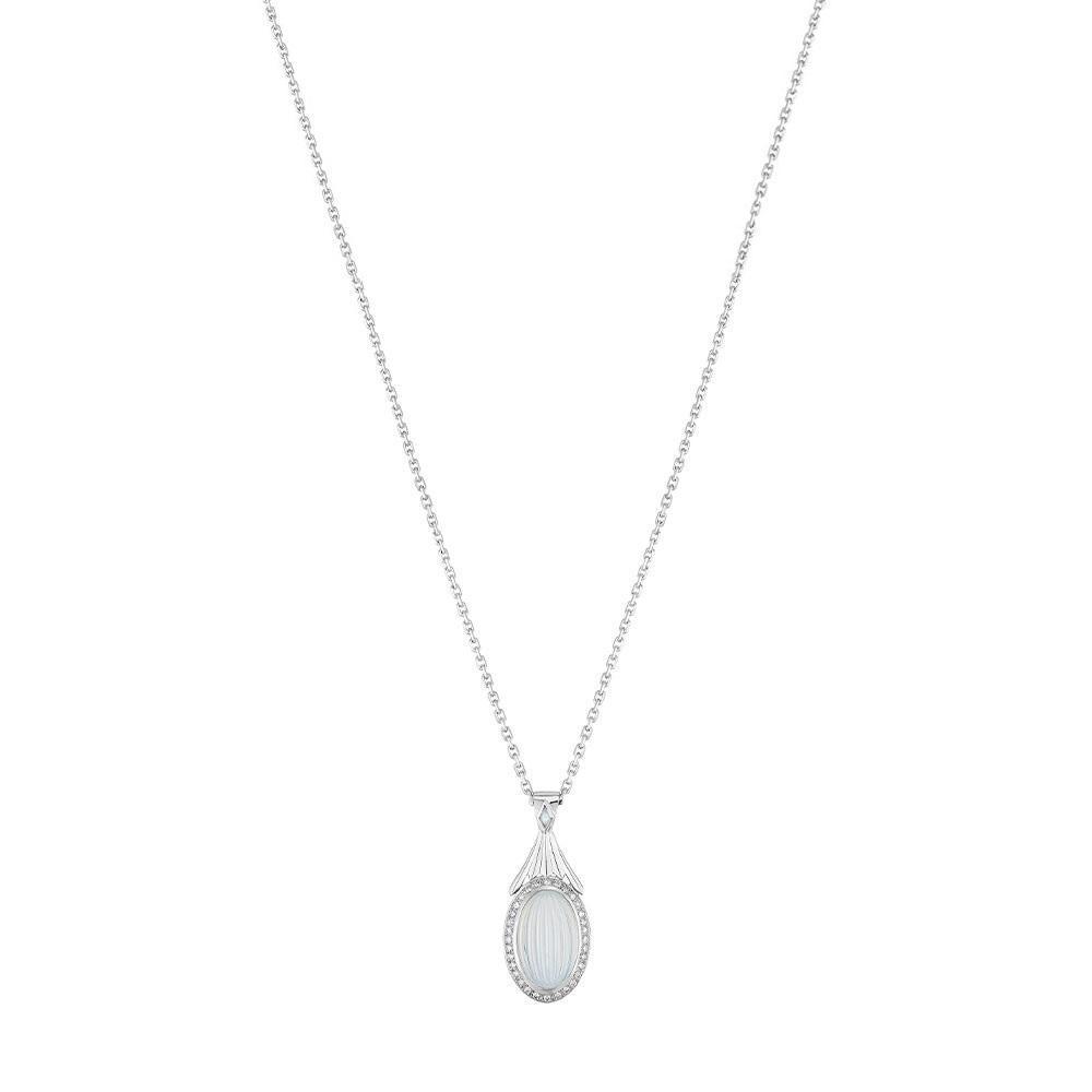 La Flûte Enchantée pendant | White gold, crystal, diamonds, agate onyx | Lalique fine jewellery