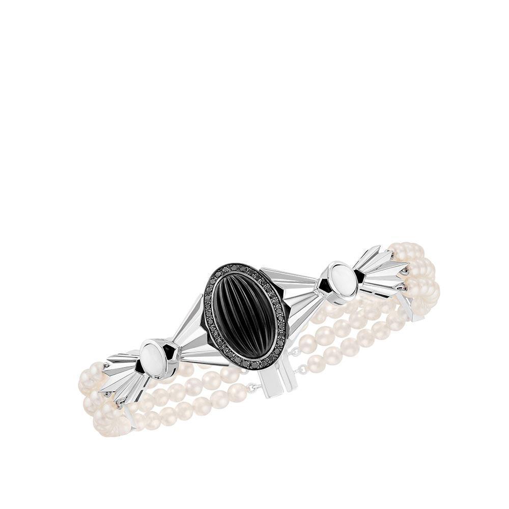 La Flûte Enchantée bracelet | White gold, crystal, diamonds, pearls, agate onyx | Lalique fine jewellery