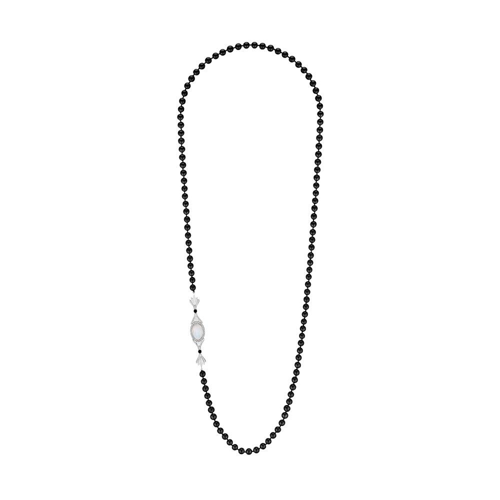 La Flûte Enchantée necklace | White gold, crystal, diamonds, Akoya pearls, agate onyx | Lalique fine jewellery