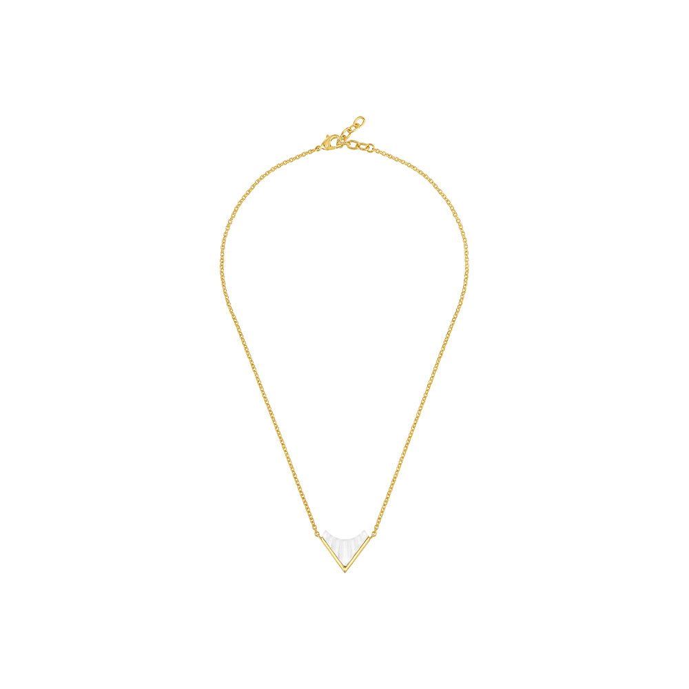 Style 1925 Necklace   Clear crystal, 18 carats yellow gold plated   Costume jewellery Lalique