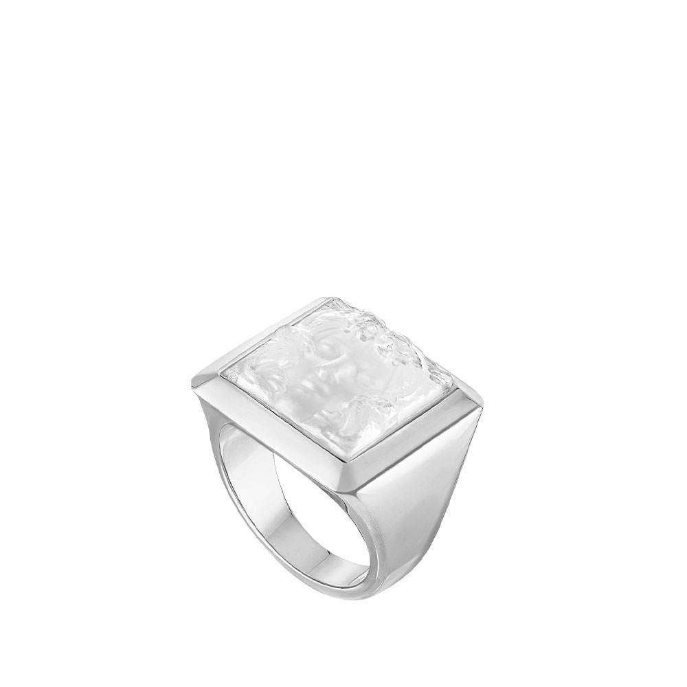Arethuse signet ring | Clear crystal, silver | Costume jewellery Lalique