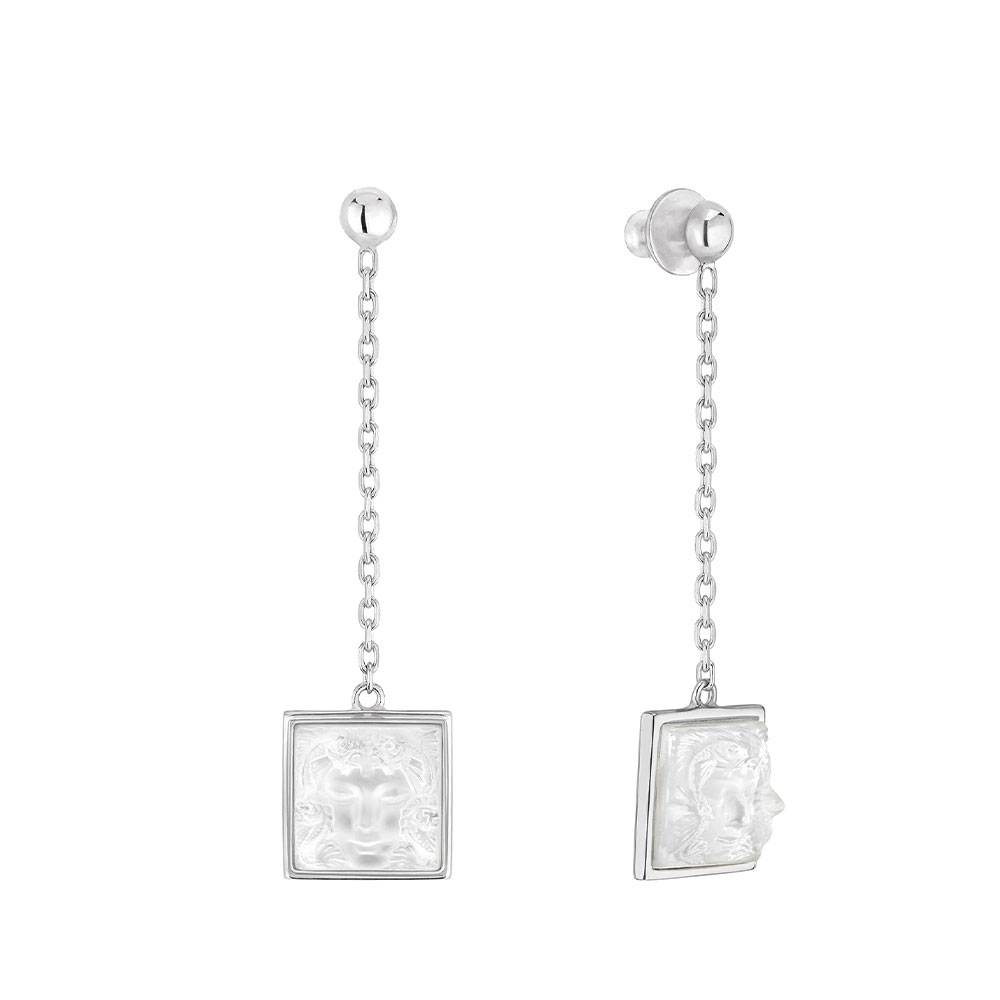 Arethuse Earrings | Clear crystal, silver | Costume jewellery Lalique
