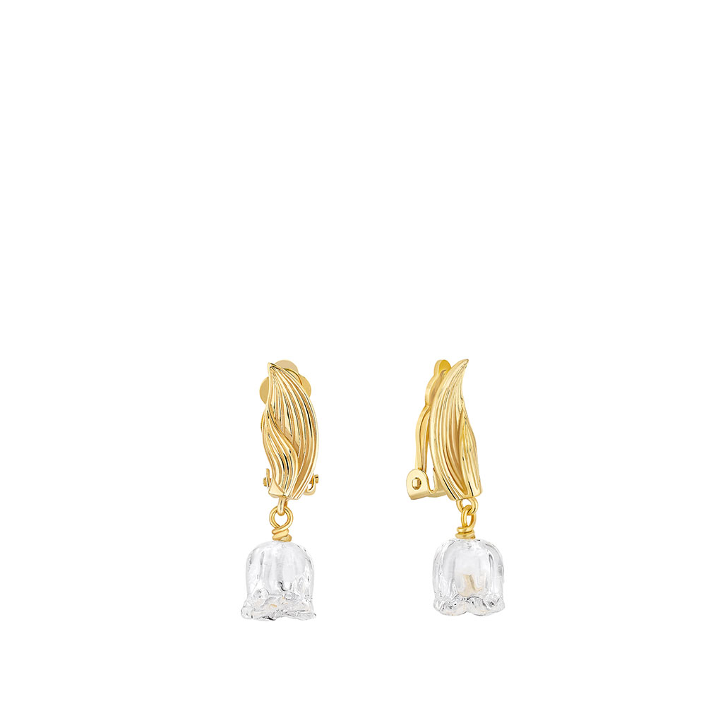 Muguet Earrings | Clear crystal, Vermeil | Costume jewellery Lalique