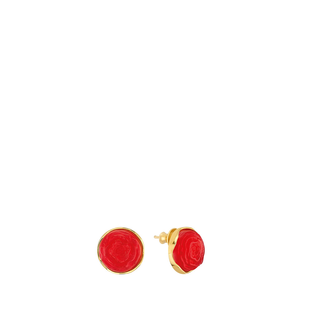 Pivoine Earrings | Red pearly on clear crystal, 18 carats yellow gold plated | Costume jewellery Lalique