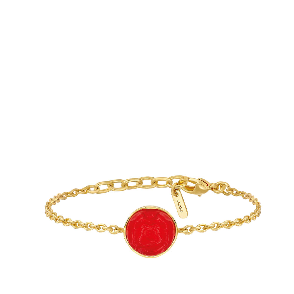Pivoine Bracelet | Red pearly on clear crystal, 18 carats yellow gold plated | Costume jewellery Lalique