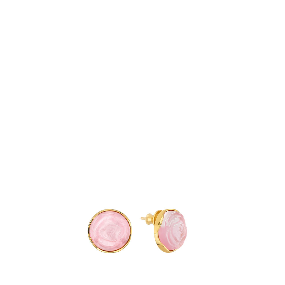 Pivoine Earrings | Pink pearly on clear crystal, 18 carats yellow gold plated | Costume jewellery Lalique