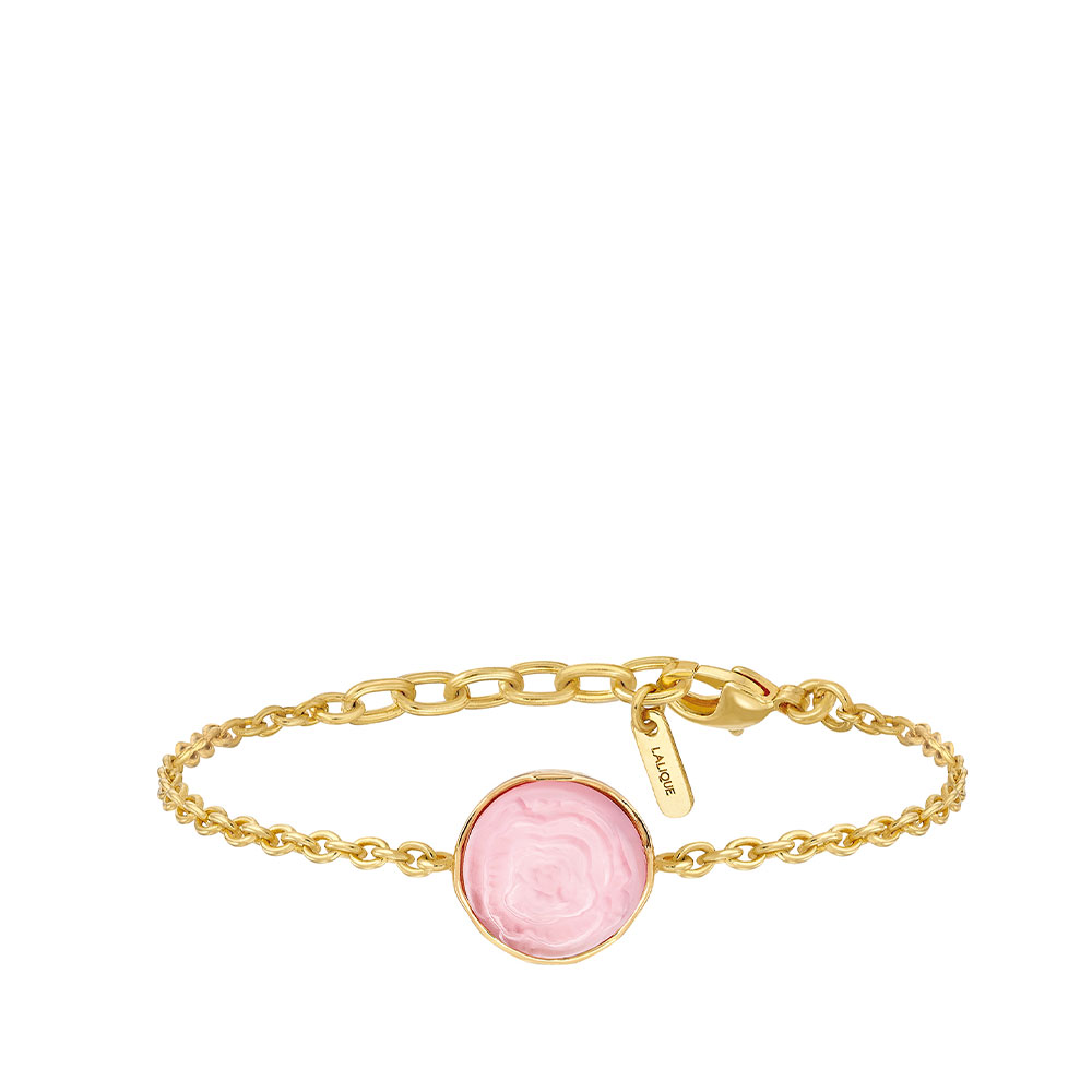 Pivoine Bracelet | Pink pearly on clear crystal, 18 carats yellow gold plated | Costume jewellery Lalique