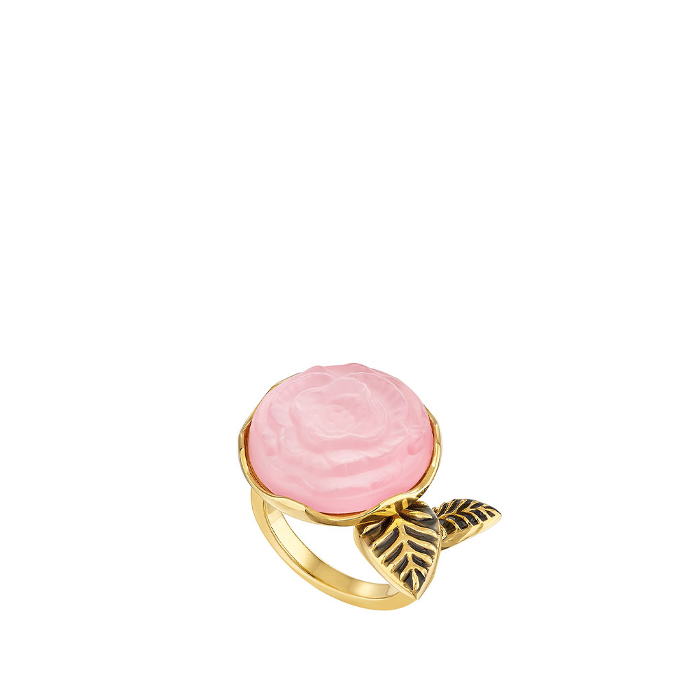 Pivoine Ring | Pink pearly on clear crystal, 18 carats yellow gold plated, black lacquer | Costume jewellery Lalique