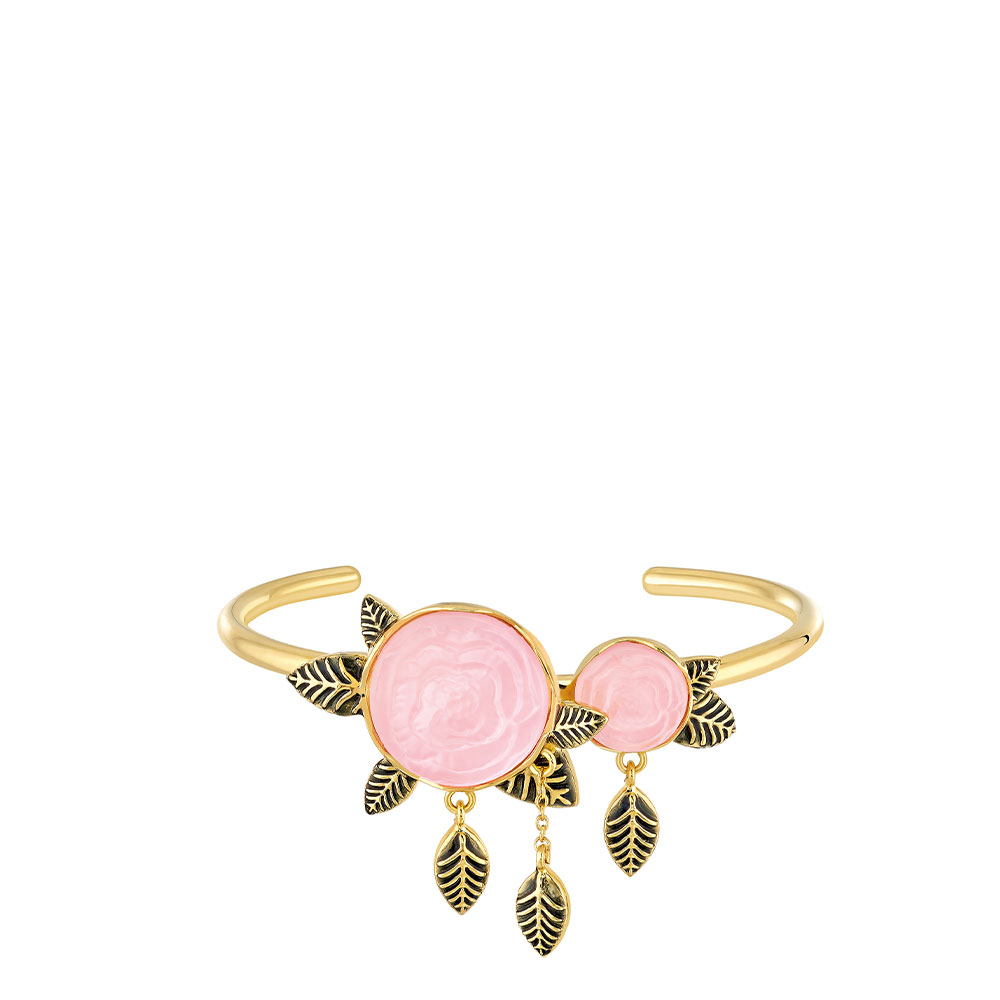 Pivoine Bracelet | Pink pearly on clear crystal, 18 carats yellow gold plated, black lacquer | Costume jewellery Lalique
