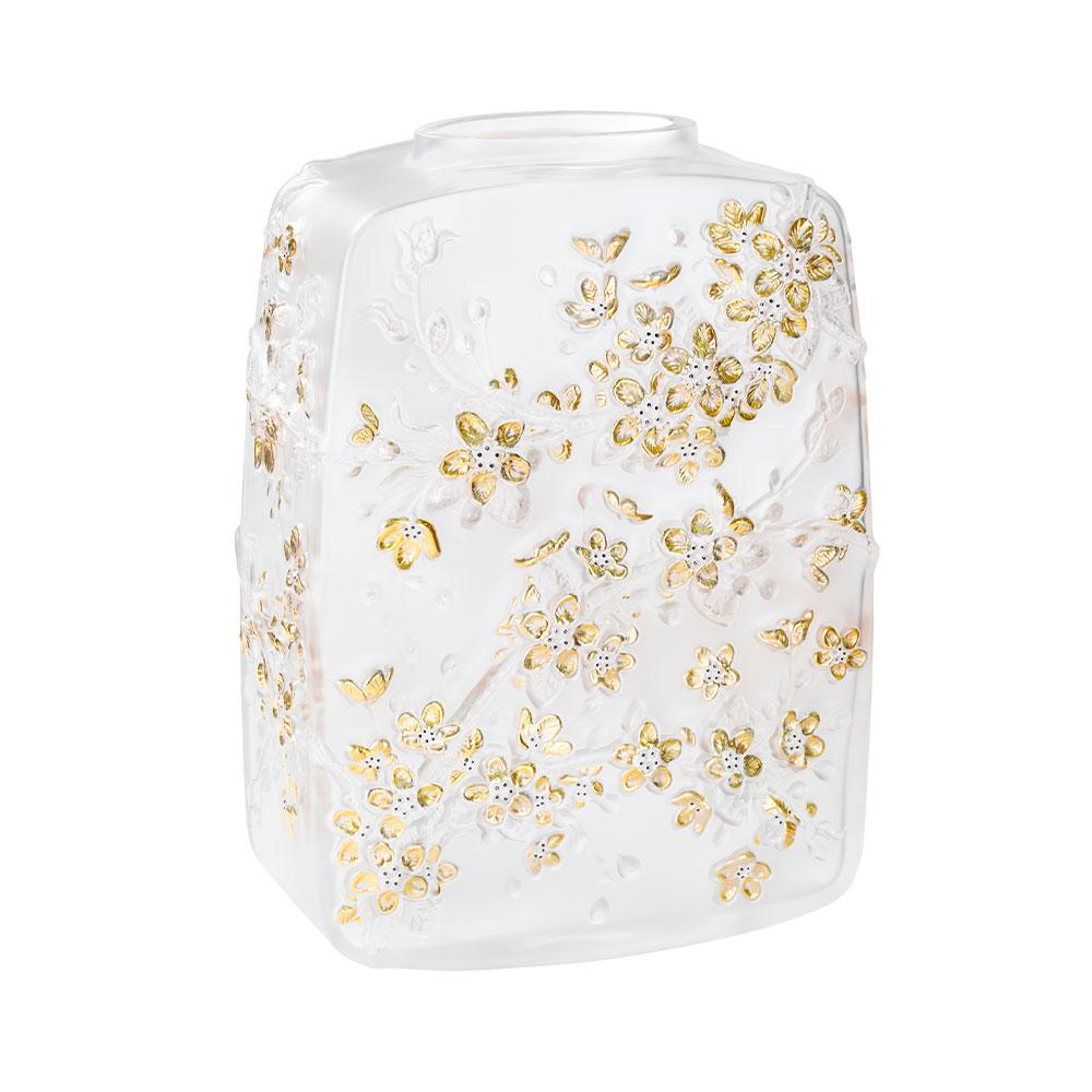 Fleurs de Cerisier Vase | Numbered edition, clear crystal gold stamped, black enamelled | Lalique Vase