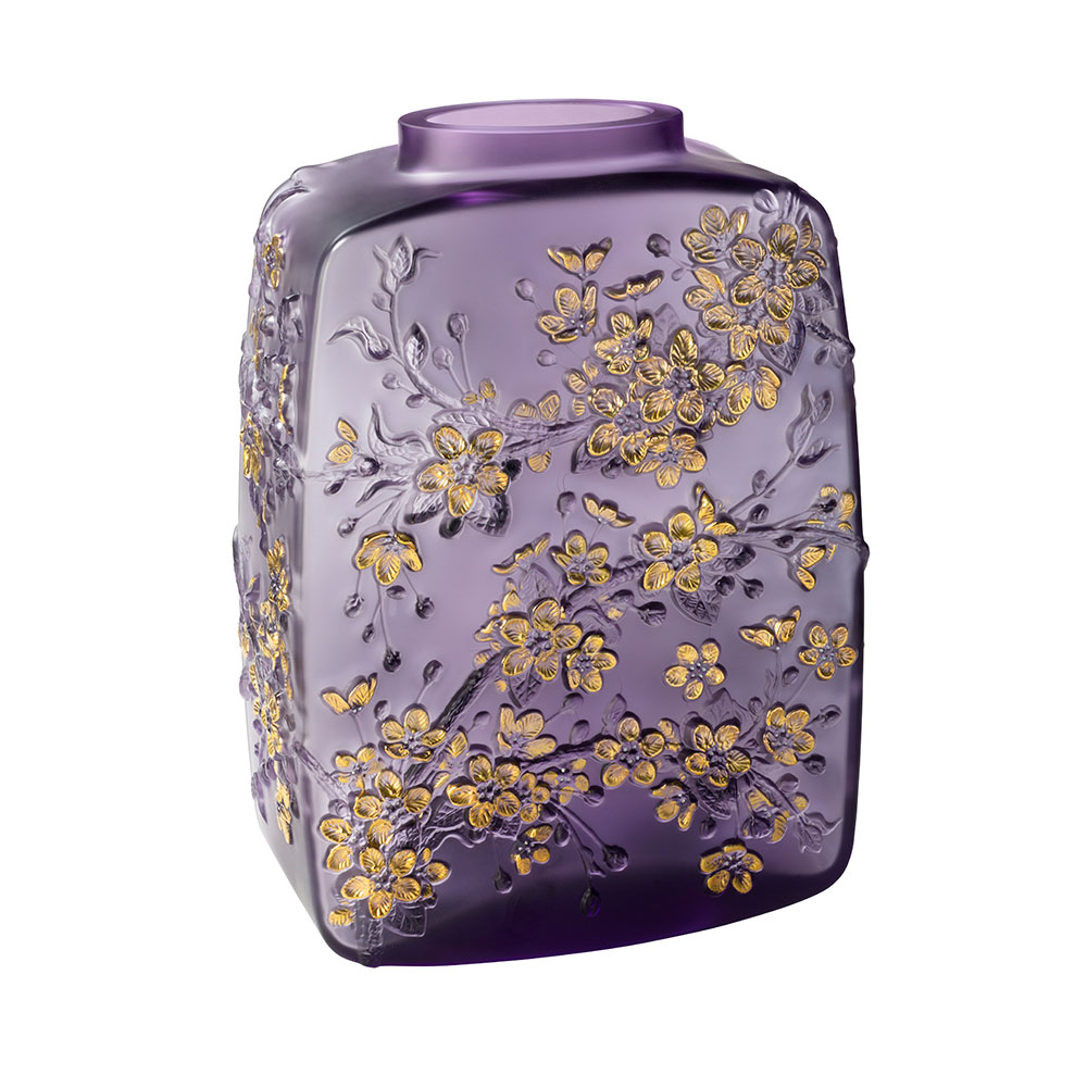 Fleurs de Cerisier Vase | Limited edition (28 pieces), purple crystal gold stamped, white enamelled | Lalique Vase