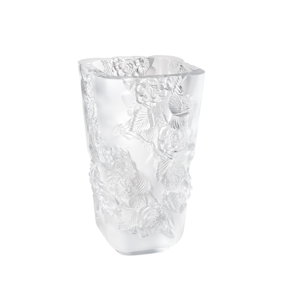 Pivoines Vase Large Size | Clear crystal | Lalique Vase