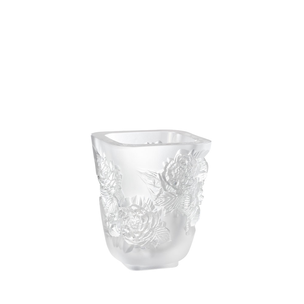 Pivoines Vase Small Size | Clear crystal | Lalique Vase