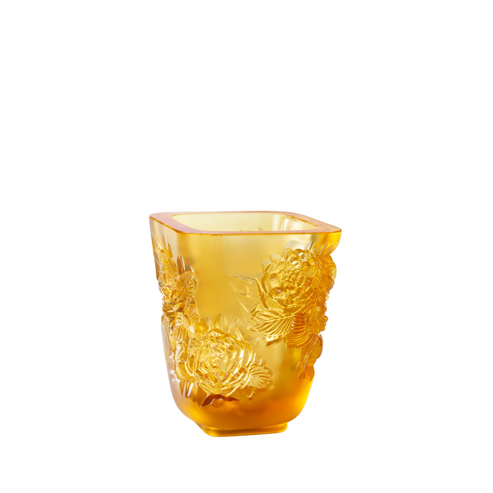 Pivoines Vase Small Size | Amber crystal | Lalique Vase