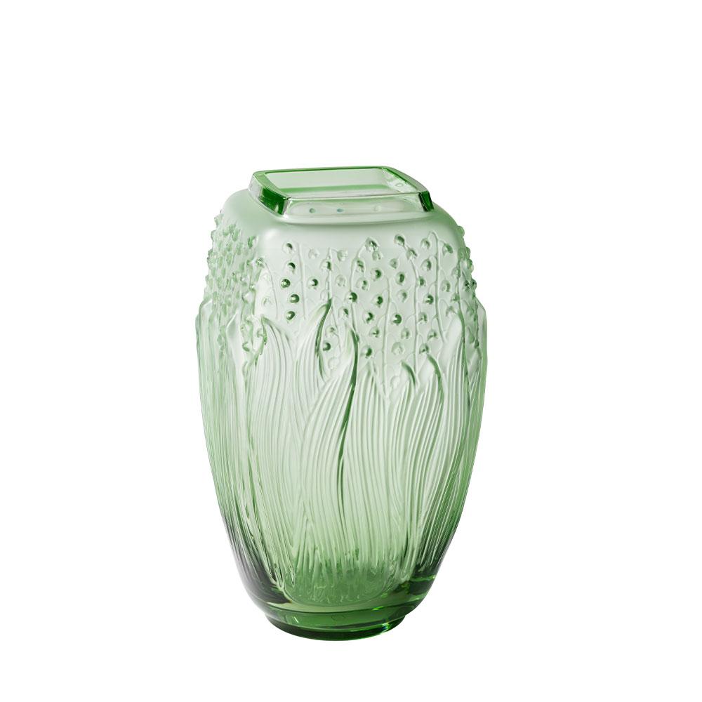 Muguet Vase | Green crystal | Lalique Vase