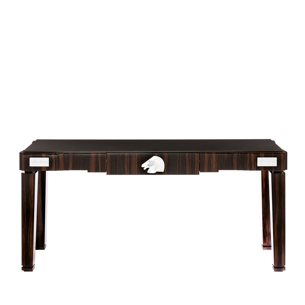 Longchamp console table | Numbered edition, clear crystal and natural ebony | Console Lalique