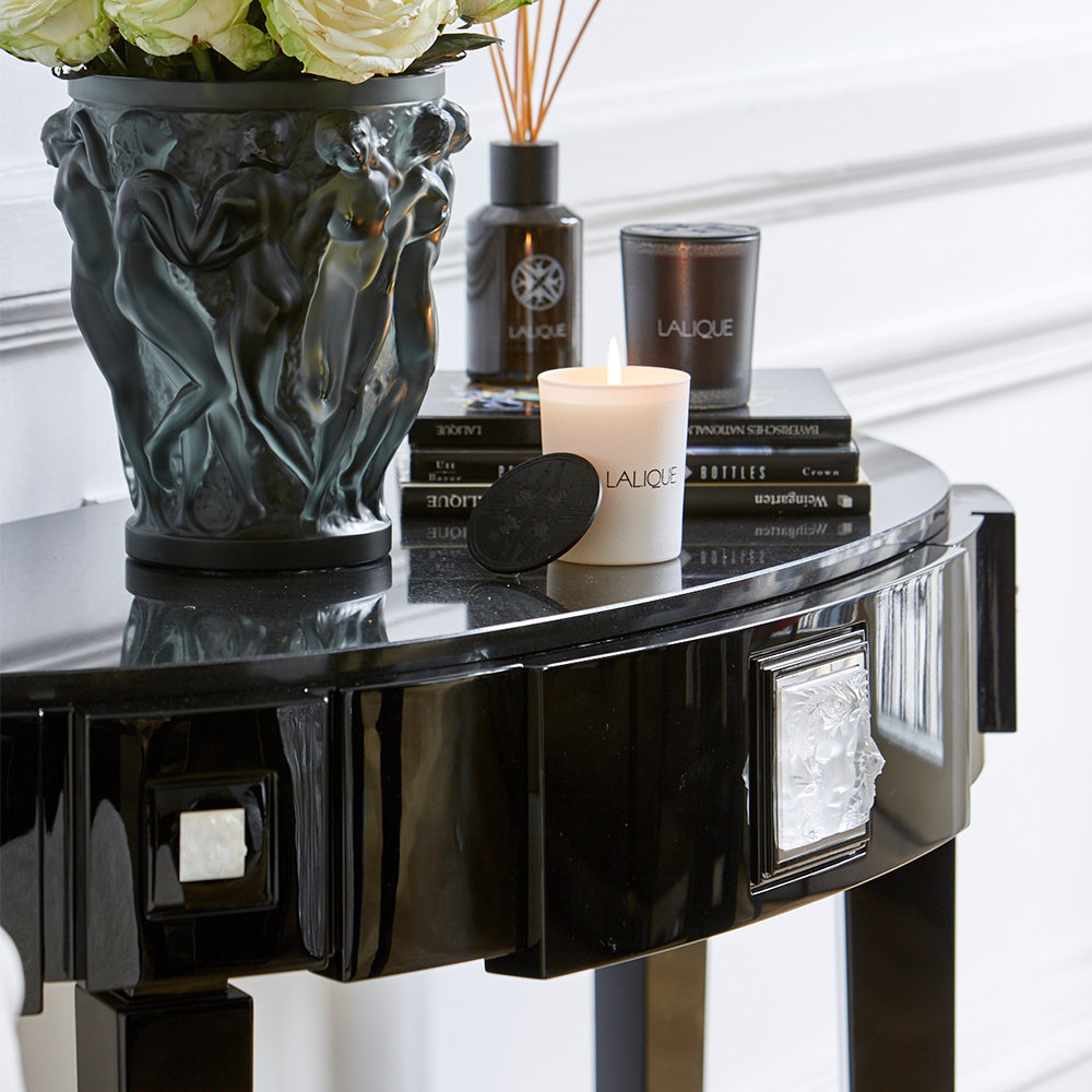 Masque de Femme half moon console table | Numbered edition, clear crystal and black lacquered with black granite top | Console Lalique